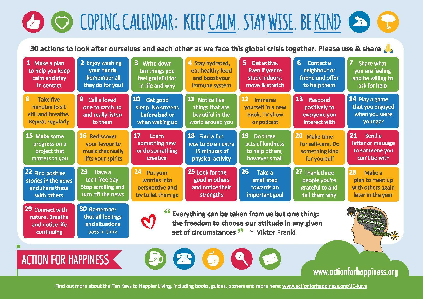 Coping calendar Keep calm Stay wise Be kind from Action for Happiness